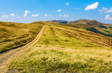 path on high altitude alpine grassy meadow on the ridge with peaks. beautiful travel scenery in sunny early autumn weather and blue sky with clouds Stock Photo