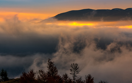 fog rise in mountains at sunrise. gorgeous autumnal nature scenery with light spots over the cloud