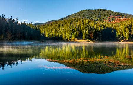 스모키 호수 숲 산과 푸른 하늘을 반영합니다. 화려한 단풍 조성을 보완하는 안개와 잔물결 사이 물 표면에 오렌지 단풍 float