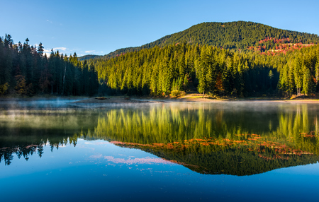 smokey lake reflect forest mountain and blue sky. orange foliage float on water surface among fog and ripples complementing gorgeous landscape composition Stock Photo