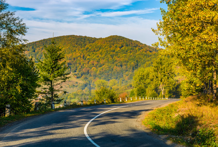 countryside road through the forest in mountains. lovely Carpathian countryside landscape in early autumn morning Stock Photo