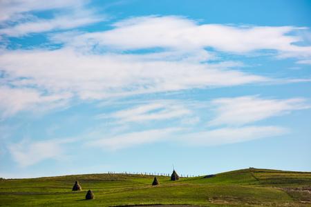 美しい曇り青空の下の草が茂った丘の干し草スタック。秋の早朝の美しいカルパティア田園風景の景観