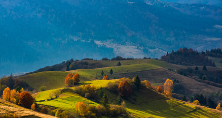 rural fields on hills in beautiful evening light. lovely autumn scenery in mountains