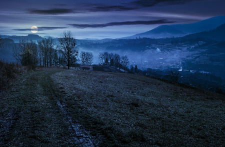dirt road to village down the hill. trees on hillside and village in valley in autumnal countryside landscape at night in full moon light