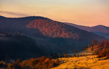warm sunrise in mountainous countryside. beautiful autumnal landscape  in fine but hazy weather