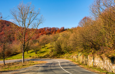 trees by the road in late autumn countryside. dangerous transportation area in mountains Stock Photo