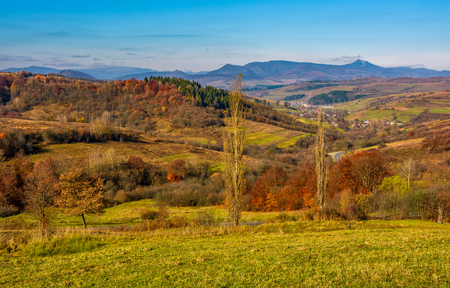 rural grassy fields on hills in gorgeous mountains. stunning countryside landscape in autumn