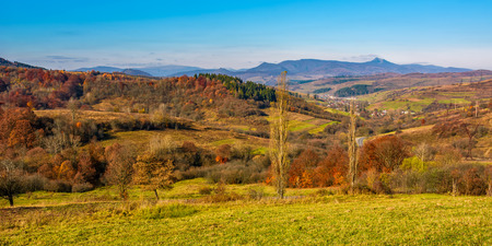 rural grassy fields on hills in gorgeous mountains. stunning panorama of countryside landscape in autumn Stock Photo