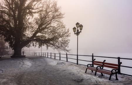 안개가 겨울 아침에 도시 제방입니다. 나무, 랜 턴, 나무 벤치와 아름 다운 유럽 풍경 풍경.