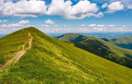 path through grassy meadow on hillside in summer. gorgeous mountain landscape in fine weather under blue sky with cloud Stock Photo