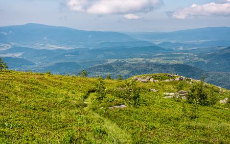 巨大な岩と草で覆われた丘の中腹。夏の朝の美しい山岳風景