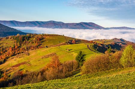 秋の中山間地域で豪華な朝。上昇霧の谷に落ちる干し草スタックと草に覆われたなだらかな丘に沿って木製フェンス