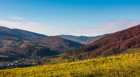 grassy hillside in mountainous rural area. beautiful mountainous countryside in autumn