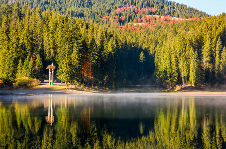National Park Synevyr, Ukraine - October 23, 2016: forest reflection on foggy surface of Synevyr lake. high altitude mountain lake among spruce forest on beautiful autumn morning
