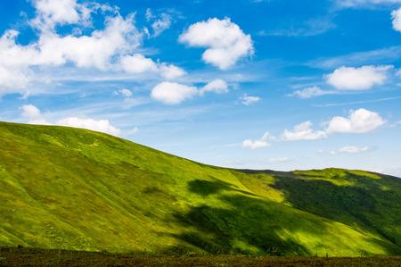 青い空の下で緑のアルプス。夏は新鮮な草が茂った丘と豪華な山岳風景。永遠のコンセプト