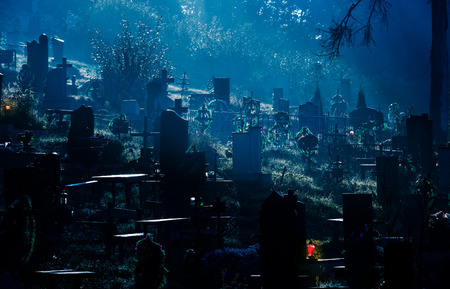 foggy dark night on cemetery. orthodox Halloween concept background