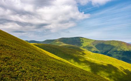 여름에 화려한 녹색 롤링 언덕입니다. 흐린 하늘 아래 잔디 산 슬로프의 아름 다운 경치