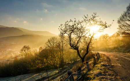 road through mountainous countryside at sunrise. gorgeous autumn scenery with fog