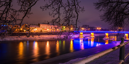 night cityscape panorama of old town in winter Editorial