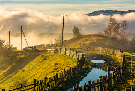rural road among the wooden fences in morning fog. spectacular scenery in mountains at sunrise