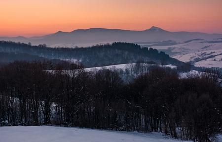 高いピークを持つ山の美しい赤みのある冬の夕暮れ。雪に覆われた丘の上の暗い葉の森