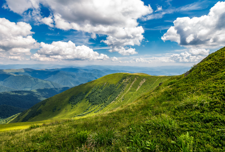 grassy slopes under the beautiful cloudscape. gorgeous summer landscape in mountains