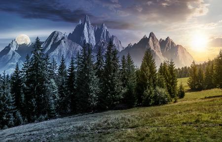 昼と夜の時間変化のコンセプトです。ロッキー山の草で覆われた丘の中腹にトウヒの林。太陽と月と夏の風景の豪華な合成画像。 写真素材