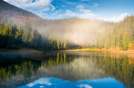 lake in spruce forest at foggy sunrise. gorgeous autumn landscape in Carpathian mountains Stock Photo
