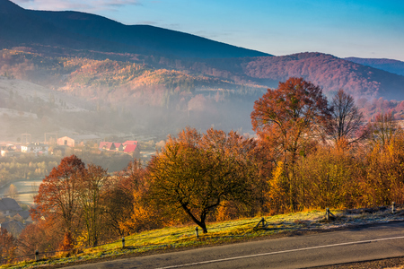 gorgeous foggy morning in autumn countryside. lovely rural scenery in mountainous area Stock Photo
