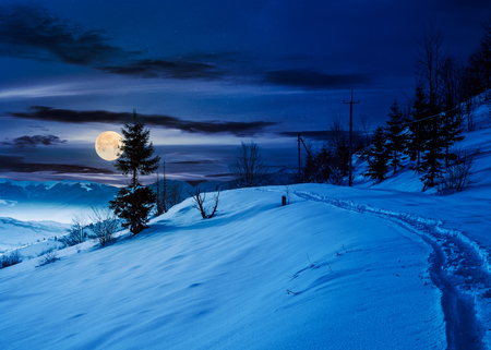 rural footpath through snowy hillside at night in full moon light. beautiful scenery of mountainous countryside in winter Stock Photo