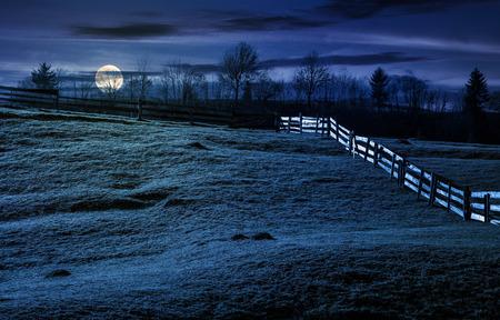 가 [NULL]에 잔디 언덕에 나무 울타리. 보름달 빛에서 밤에 흐린 하늘 좋은 날씨에 멋진 농촌 풍경