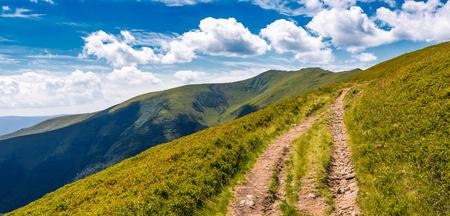 草が茂った山の尾根のパノラマを歩道。豪華な空の雲の下で美しい夏の風景 写真素材