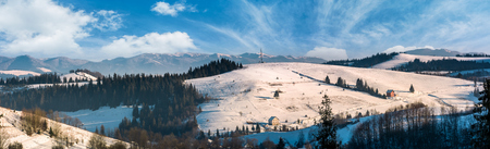 panorama of rural area in winter Carpathians. agricultural fields and spruce forests on snowy hillsides. huge mountain ridge in the distance