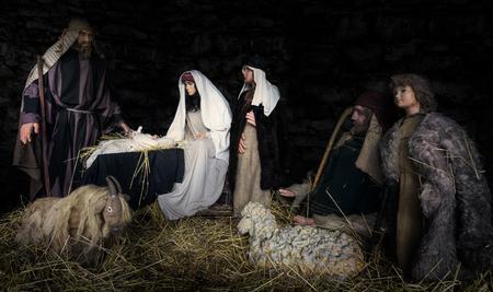 聖書のシーン - イエス ・ キリスト生誕。人形のシーン合成画像 写真素材