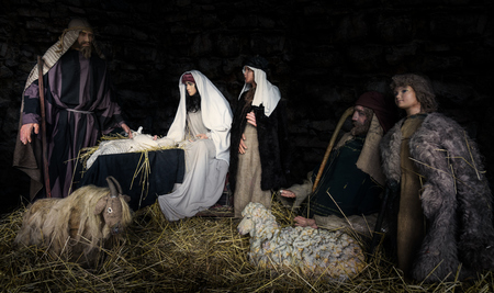 Bible scene - birth of Christ. composite image, scene made of dolls
