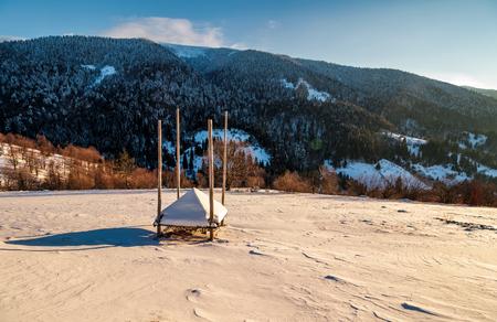 눈 덮인 언덕에 빈 덤 불을 나타냈다. TransCarpathia의 산악 농촌 지역에서 아름다운 겨울 아침
