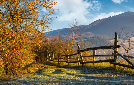 autumn rural scenery with fence on hillside. yellow foliage on trees and mountain ridge in a distance under the blue sky