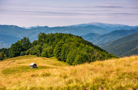 shed near the forest on a grassy slope. beautiful summer landscape in Carpathian mountains. Polonina Krasna mountain ridge is seen in a far distance Stock Photo - 90944051