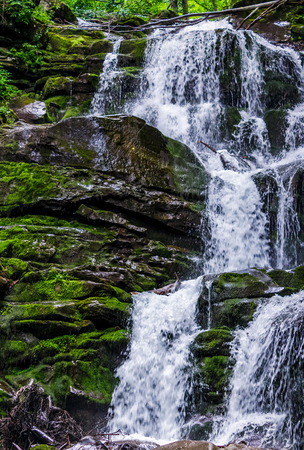 Great waterfall Shypit in Carpathian mountains. beautiful and fresh summer nature scenery Stock Photo