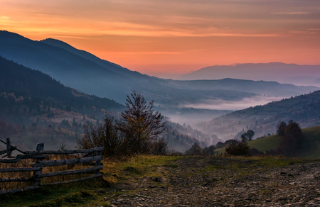 wooden fence on a slope of foggy valley at dawn. gorgeous landscape in forested mountains with red foliage Stock Photo