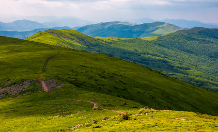 footpath along the Carpathian Dividing Ridge. gorgeous summer landscape with grassy slopes Stock Photo