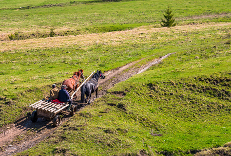 Pylypets, Ukraine - May 01, 2017: traffic in mountainous rural area in summer. wooden cart with two horses and two men ridge uphill the grassy slope Editorial