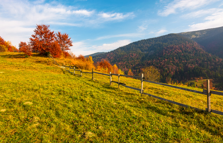 Zaun entlang der grasbewachsenen Hügel. schöne Herbstlandschaft in den Bergen. ruhiges Landlebenkonzept Standard-Bild - 91941536