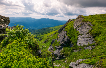 rocky cliff on the hillside edge. spectacular view of mountainous landscape Stock Photo - 92404985
