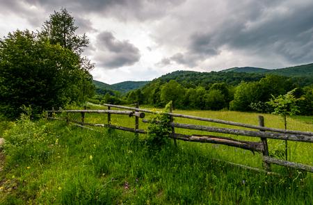산에서 농촌 풀밭에 나무 울타리. 흐린 여름날에 아름다운 농업 풍경 스톡 콘텐츠