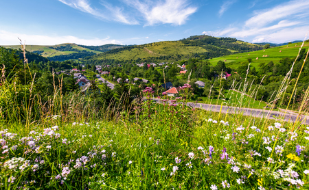 beautiful rural landscape in summertime. village along the road and fields with haystacks on hills. view from the grassy slope with wild herbs. nice weather with blue sky and some clouds Stock Photo