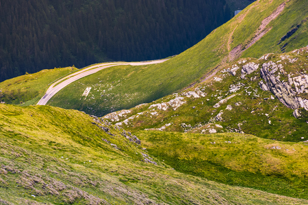 Fagaras bergen met gras begroeide hellingen en rotsachtige kliffen. prachtige natuur achtergrond