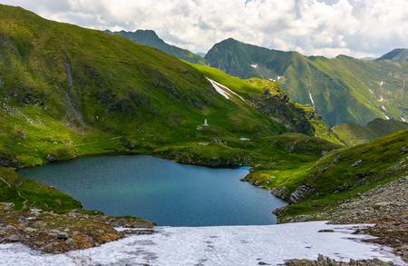 高い山の湖の豪華な眺め。草の丘の上に雪と素敵な夏の風景