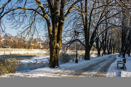 Snowy Kiev embankment in Uzhgorod. beautiful and sunny winter day. walk on fresh air along the chestnut tree alley Stock Photo