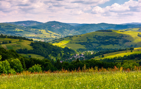 beautiful countryside with grassy fields in summer. Carpathian mountain landscape with village in valley